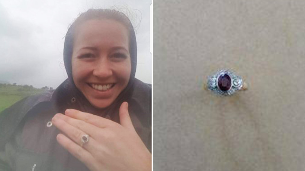 Elizabeth Docherty with her ring prior to losing it; a photo of the ring, located by travelers in the Simpson Desert. (Elizabeth Docherty/Birdsville Police)