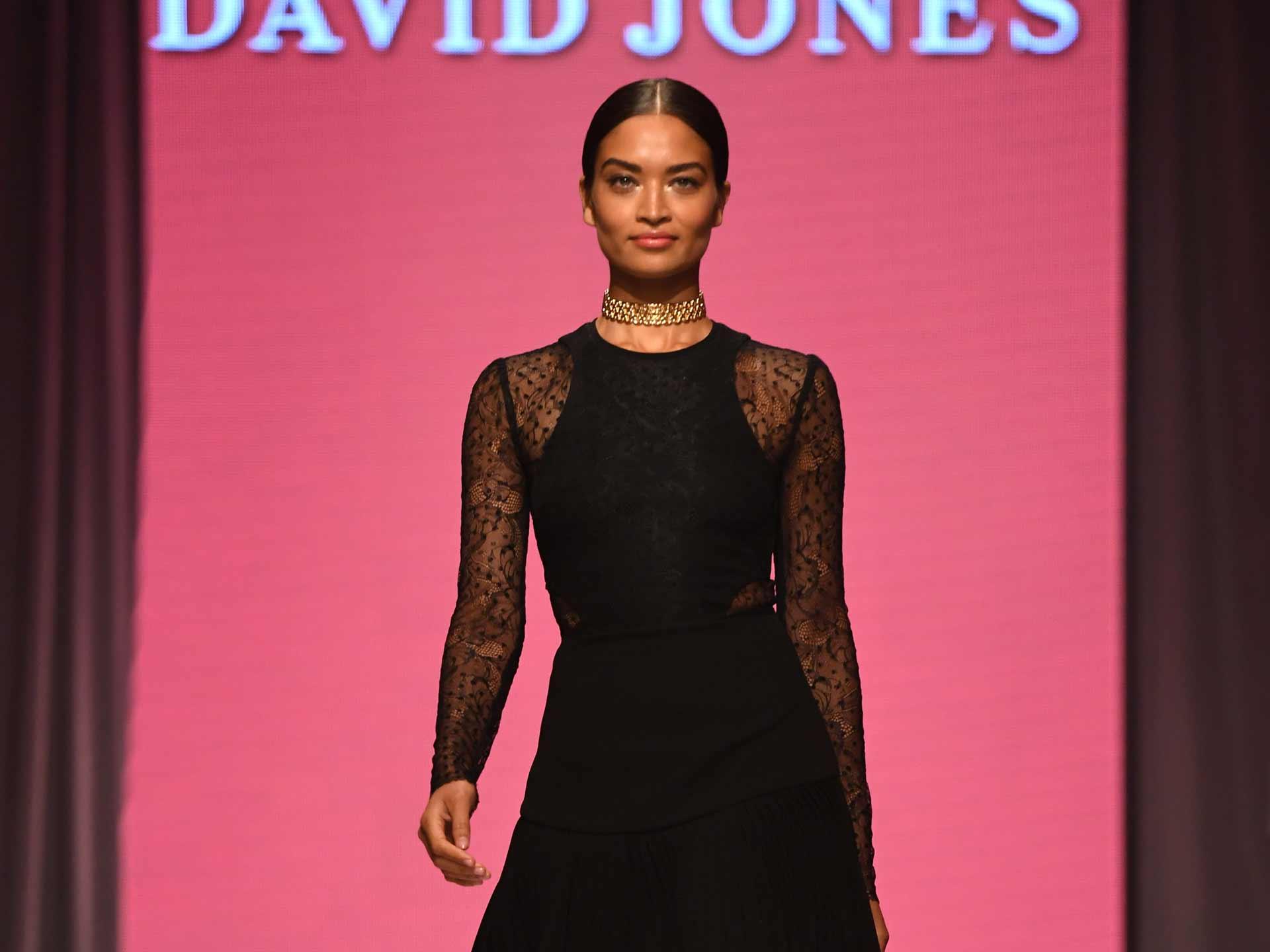 Model Shanina Shaik wears an outfit by Self Portrait. (AFP)