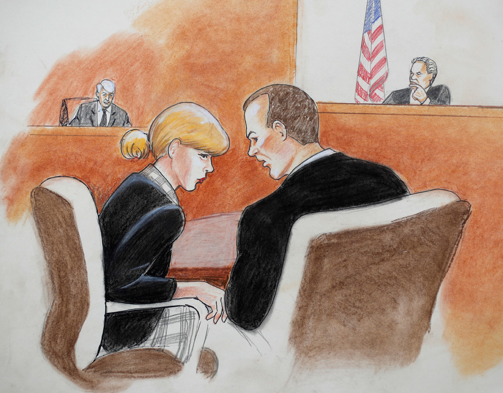 A court sketch of Taylor Swift in the courtroom. (Jeff Kandyba via AP)