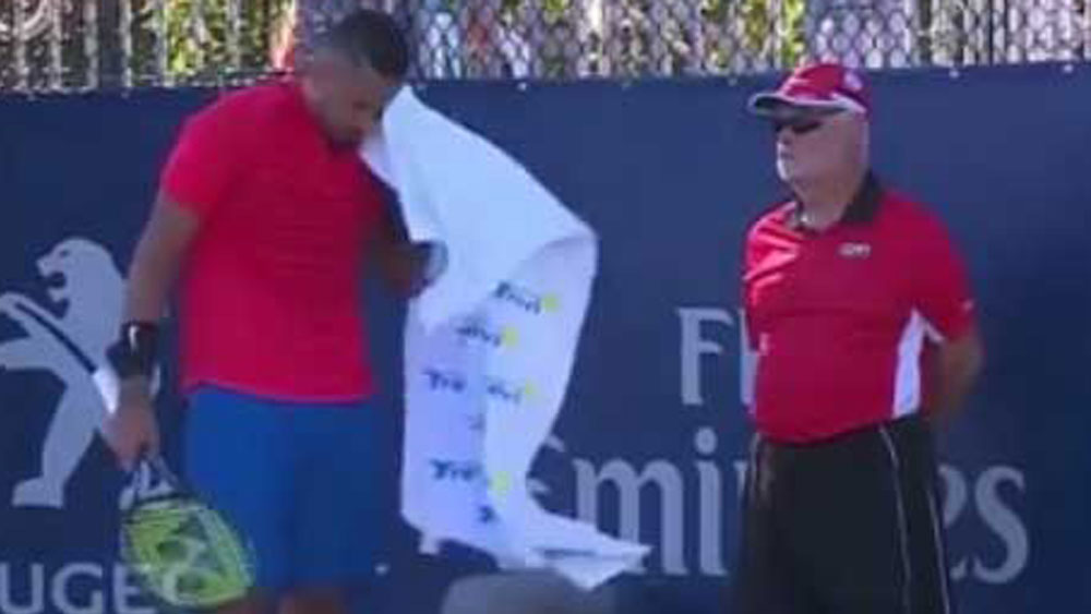 Nick Kyrgios accidentally threw his towel to a linesman during his Rogers Cup match in Montreal.