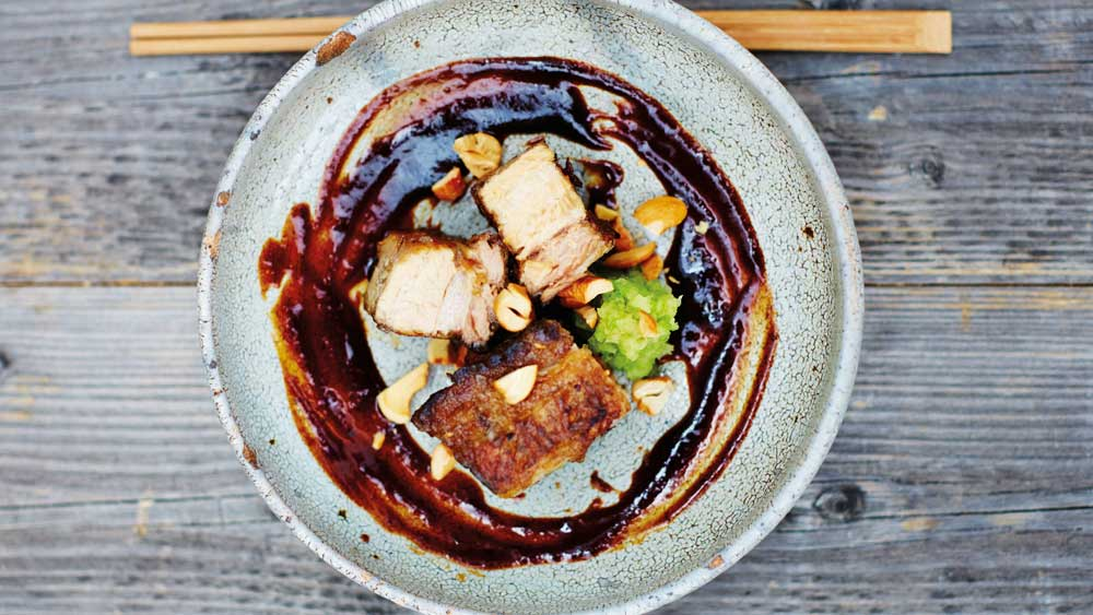 Slow-cooked barbecued pork belly with red miso sauce