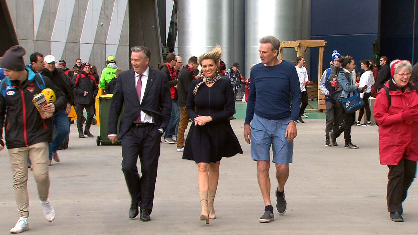 The Footy Show hosts among fans.