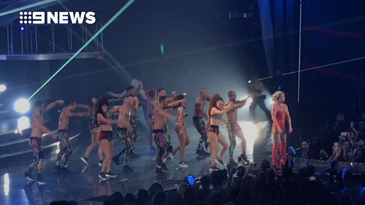 Britney Spears Rushed by Man on Stage of Vegas Show