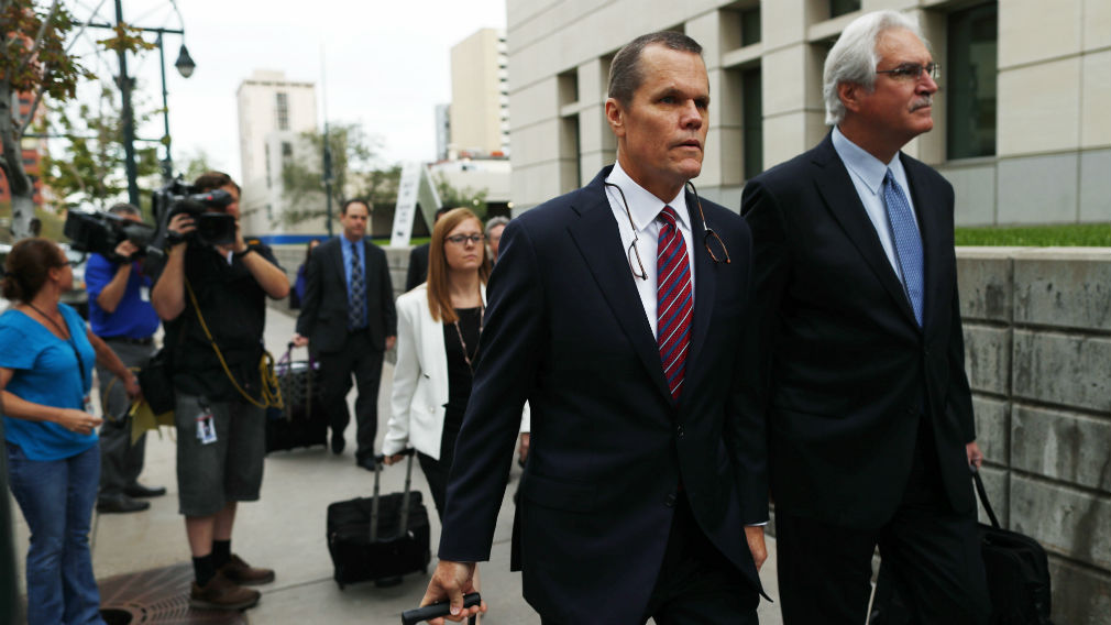 Douglas Baldridge, attorney for pop singer Taylor Swift, leads his team into the morning session of the the fourth day of the civil trial. (AAP)