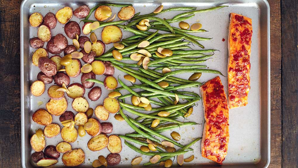 One-pan harissa salmon