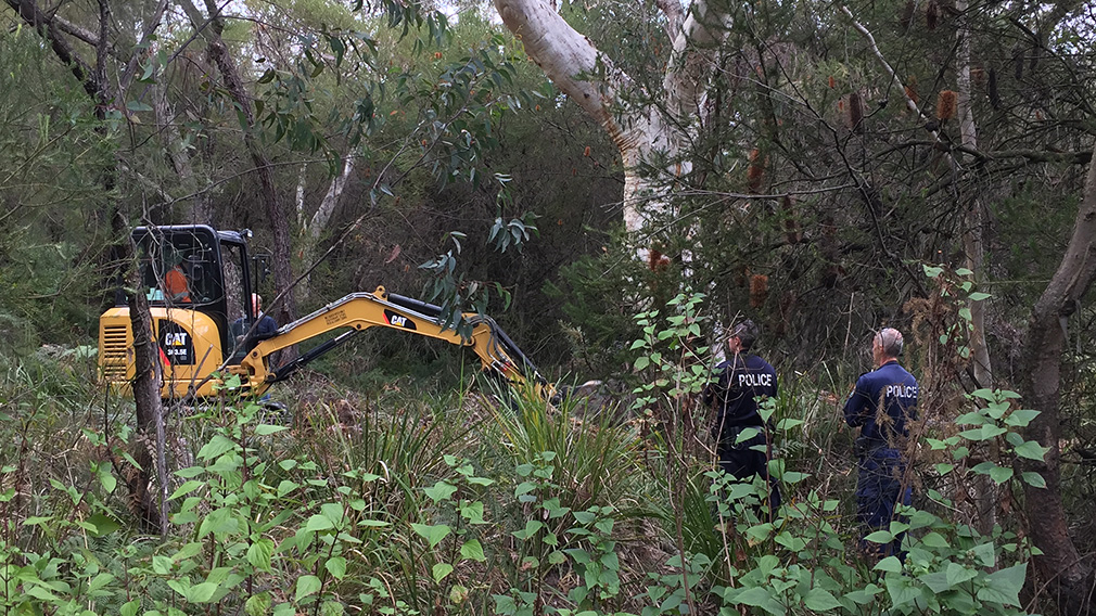 The site near Wollongong where police were digging hoping to find Quanne Diec's remains. (9NEWS)