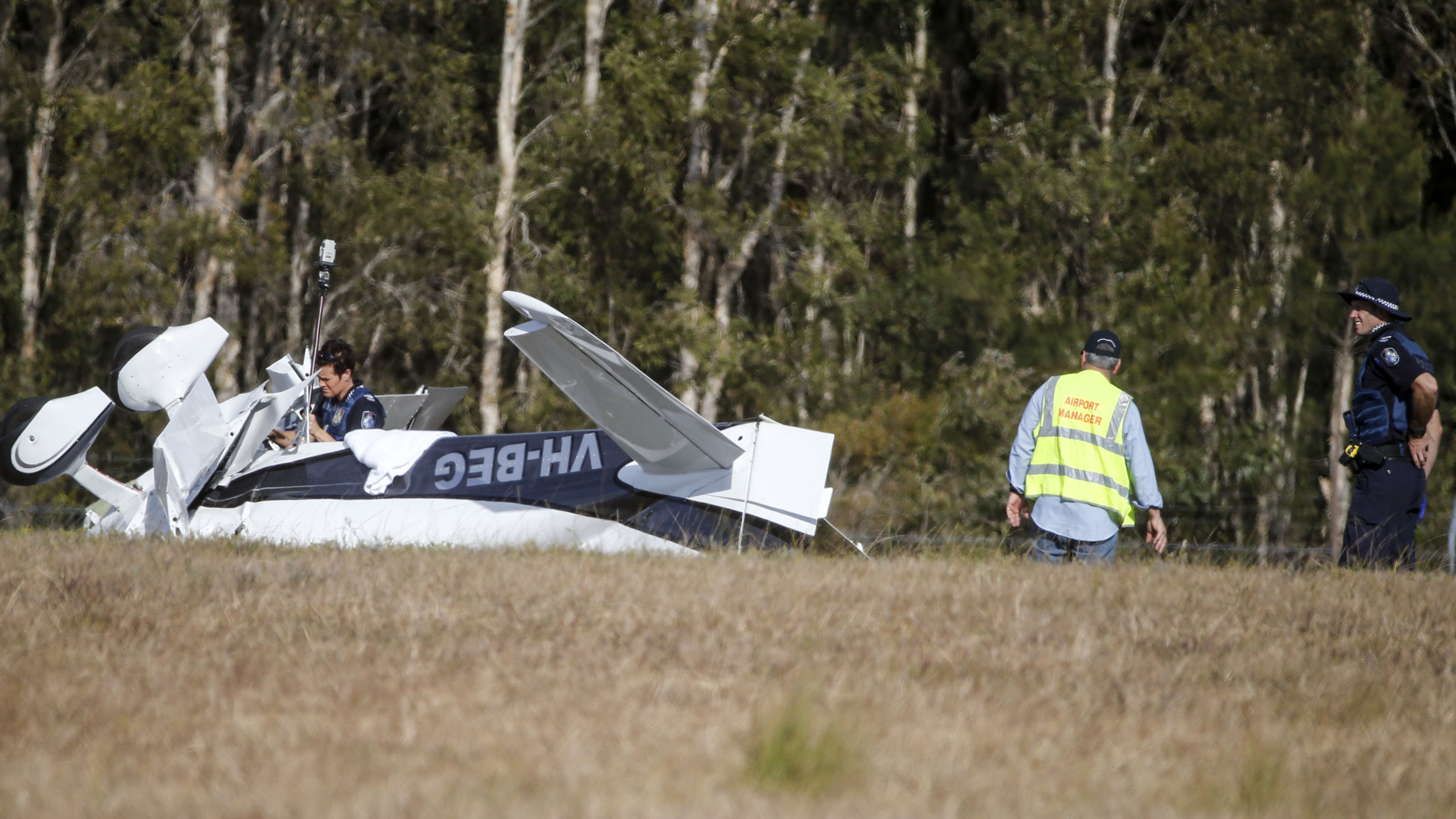The light plane flipped upon landing at an airport on Queensland's Sunshine Coast. (AAP)