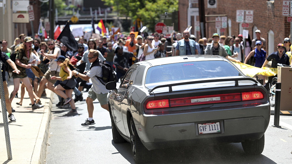 The car struck protesters in  Virginia.