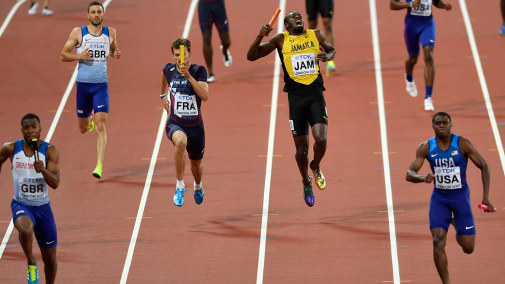 Usain Bolt pulled up injured in the race. (AFP)