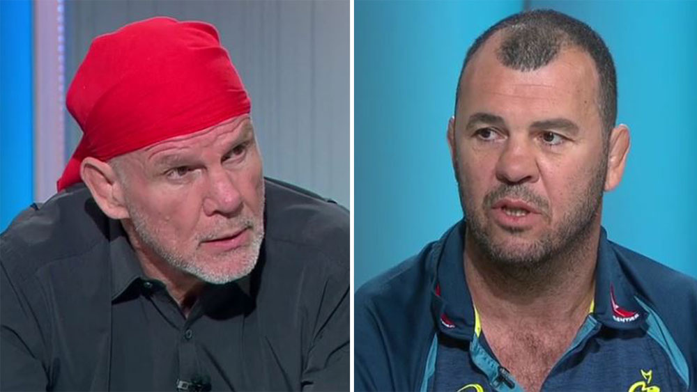 Peter FitzSimons and Michael Cheika.