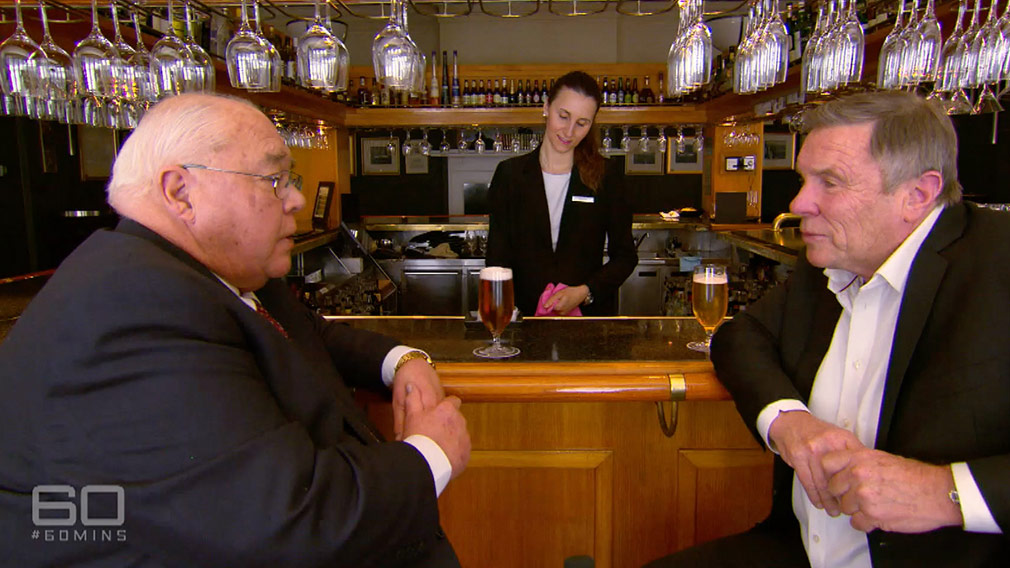 Laurie Oakes tells Charles Wooley he's available to 'drop one more bomb' in the Press Gallery before his retirement. (60 Minutes)