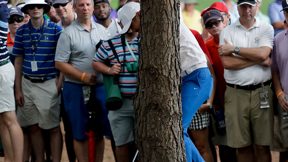 Jason Day found trouble on the 18th hole during the third round of the US PGA. (AAP)
