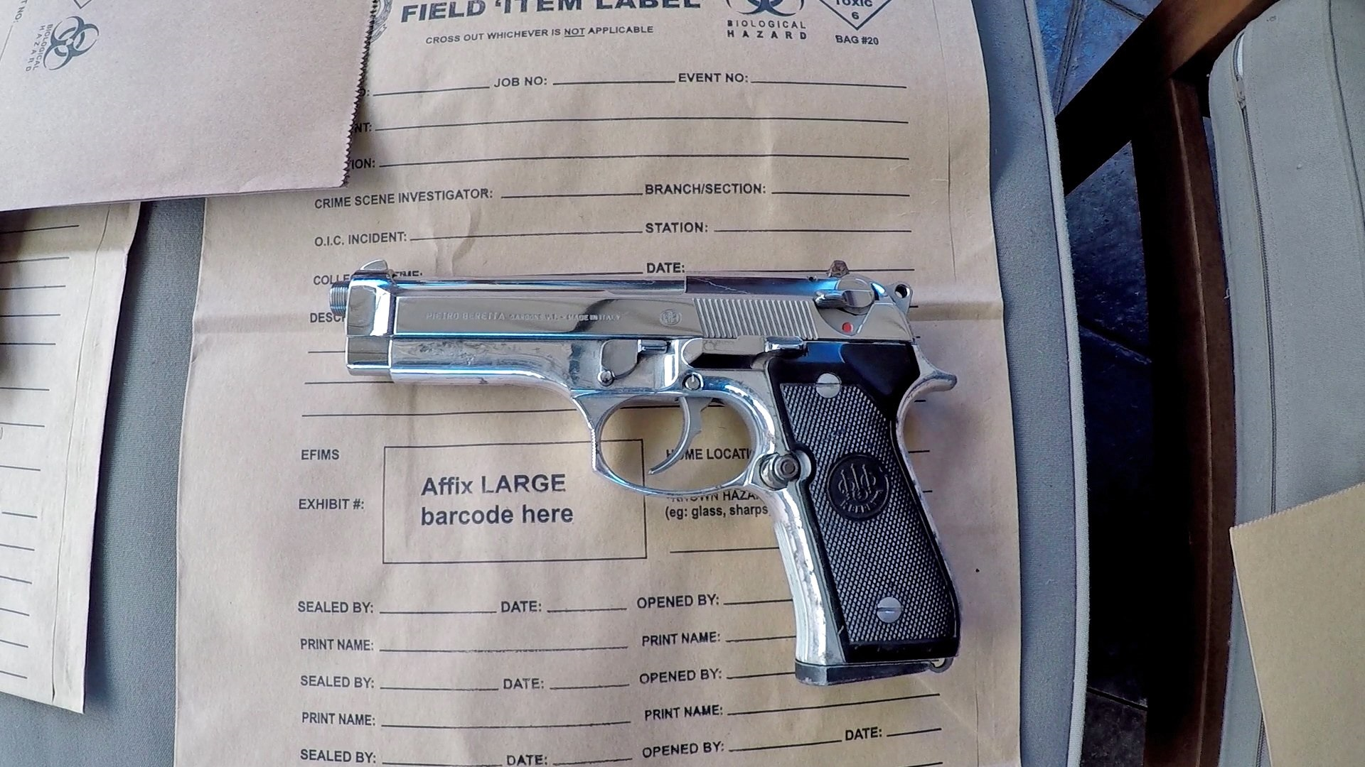 The 9mm Berretta seized from the Merrylands home today.