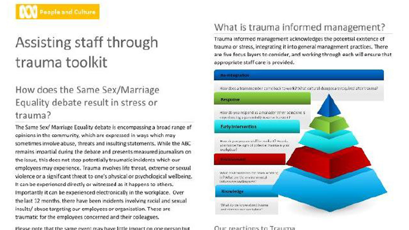 The ABC has developed a tool kit to help staff through trauma.