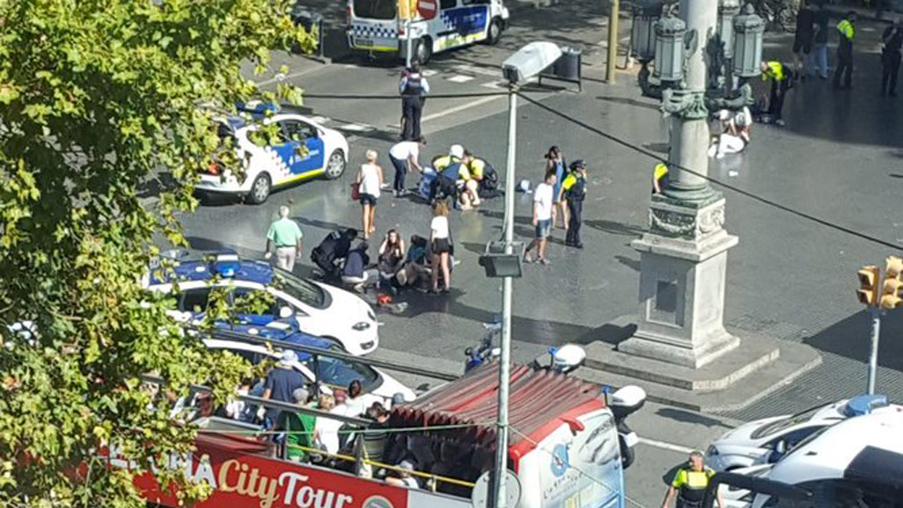 Several injured as van ploughs into crowd in Barcelona