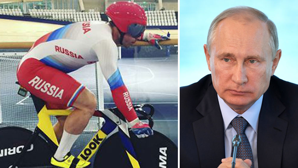 Shane Perkins in his new cycling gear and Russian president Vladimir Putin.