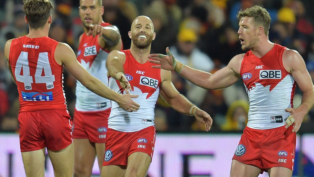 Sydney Swans scored a narrow win over Adelaide in a thrilling clash at the Adelaide Oval. (AAP)