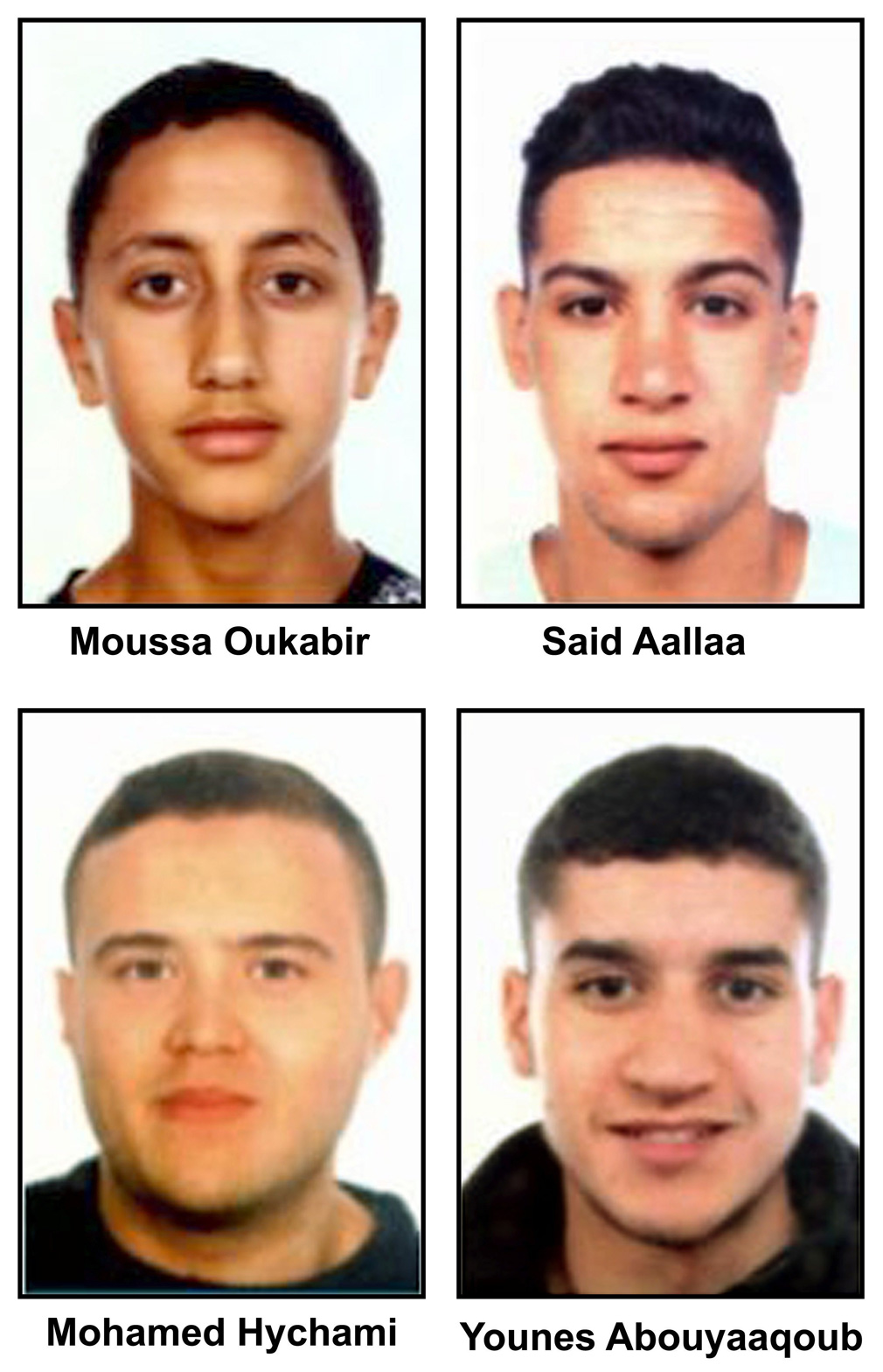 A handout composite photo made available by the Spanish Police  shows Moussa Oukabir, the suspected driver, as well as suspects Said Aallaa, Mohamed Hychami and Younes Abauyaaqoub, (AAP)