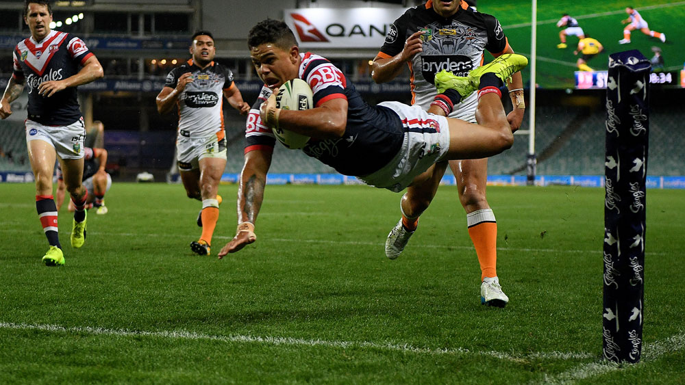 Latrell Mitchell scores a try for the Roosters. (AAP)