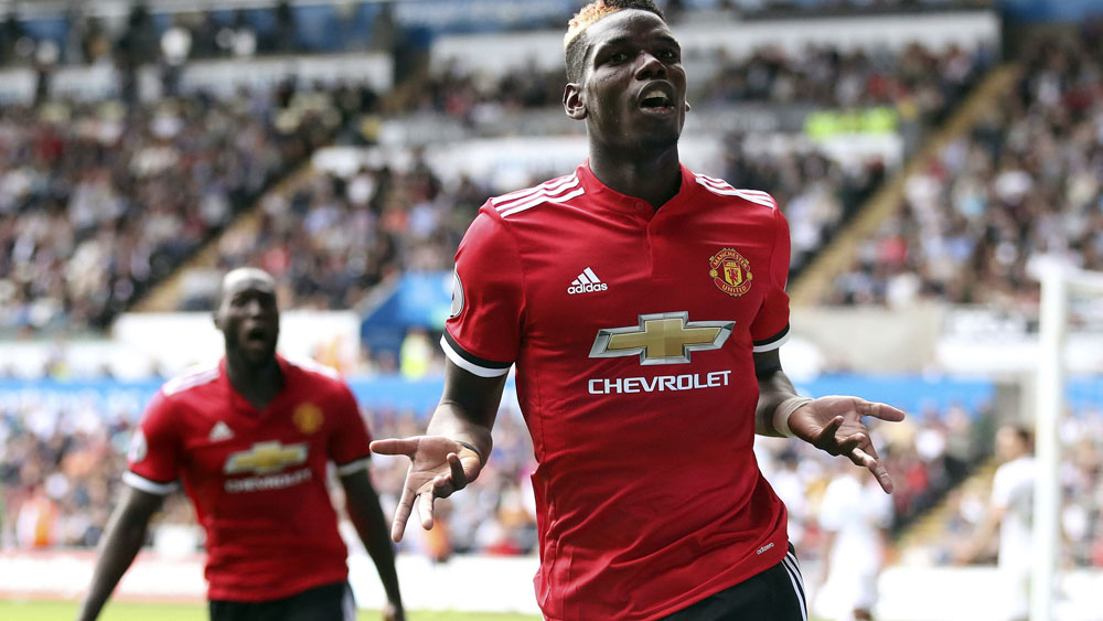 Manchester United midfielder Paul Pogba celebrates his goal against Swansea City. (AAP)