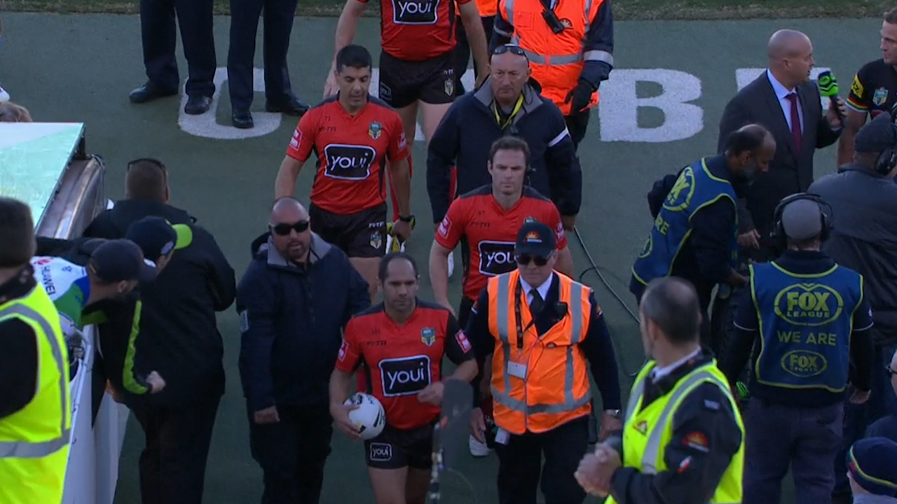 Raiders fan spits at NRL referee during half-time