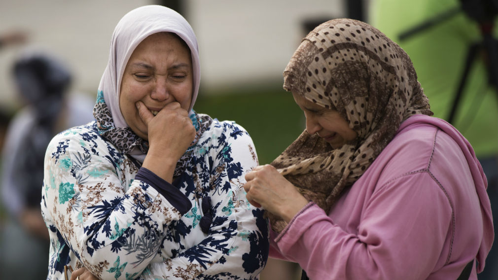 Members of the local Muslim community joined together to denounce terrorism and show their grief in Ripoll, north of Barcelona on Saturday. (AAP)