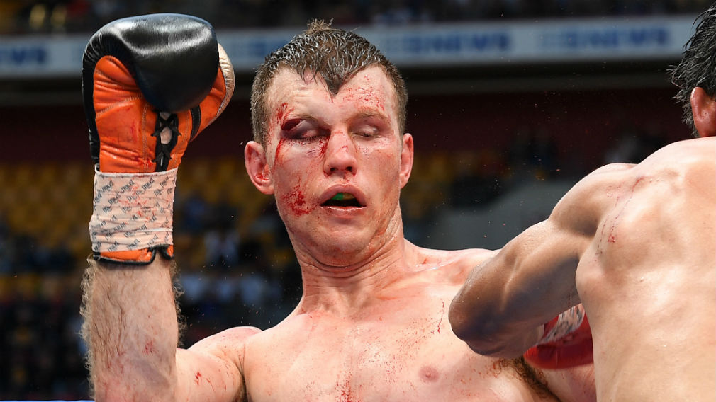 Jeff Horn is seen during the WBO World Welterweight Title fight against Manny Pacquiao of the Phillipines at Suncorp Stadium in Brisbane on July 2. (AAP)