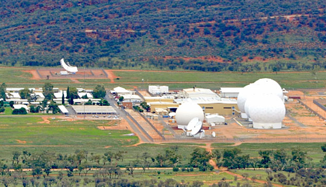 The top-secret Pine Gap base, located about 20kms from Alice Springs. (Photo: Nautilus Institute).