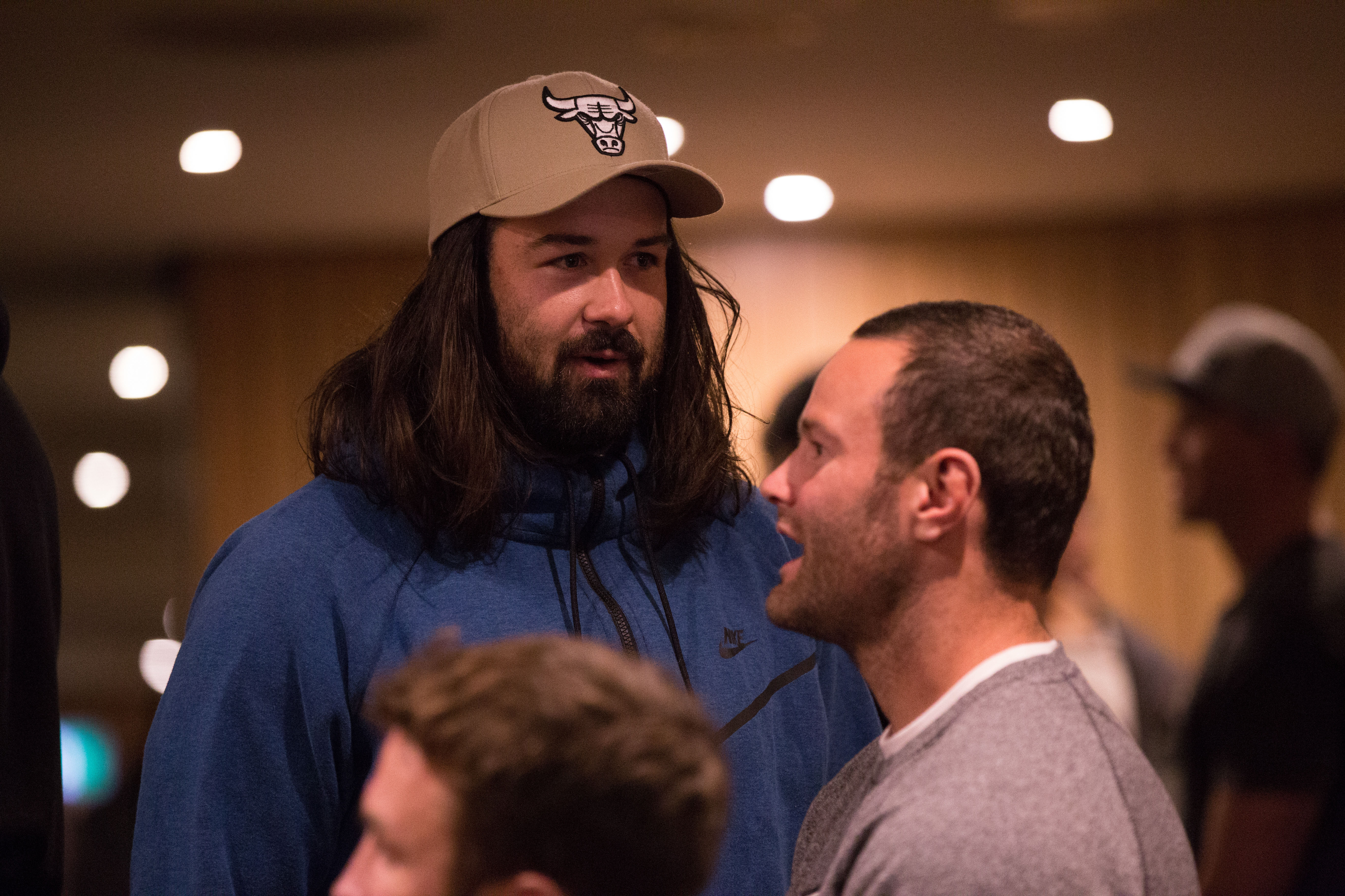 Blues teammates Aaron Woods and Boyd Cordner chat at the meeting. (AAP)