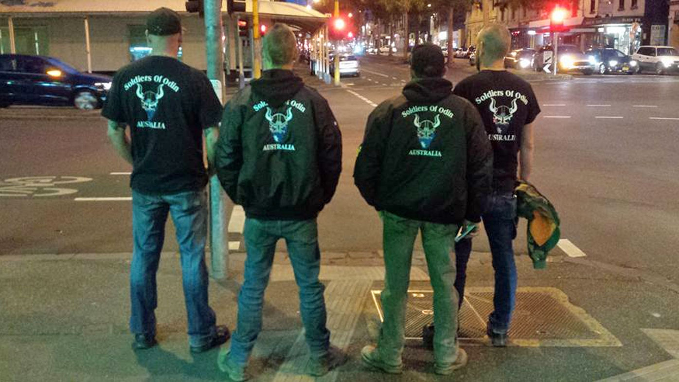 Members of the Soldiers of Odin out on patrol in Melbourne's CBD.