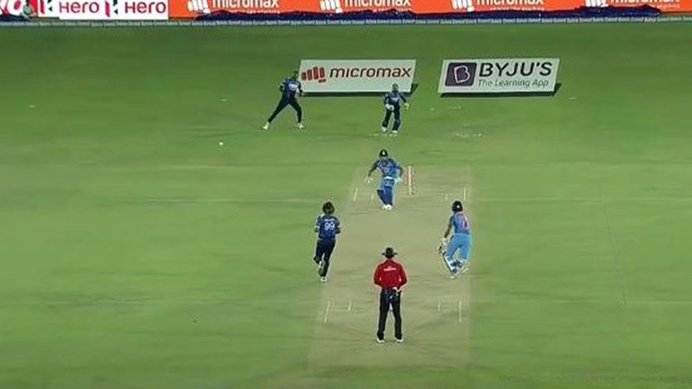 Indian batsman Rohit Sharma is run out in freakish circumstances.