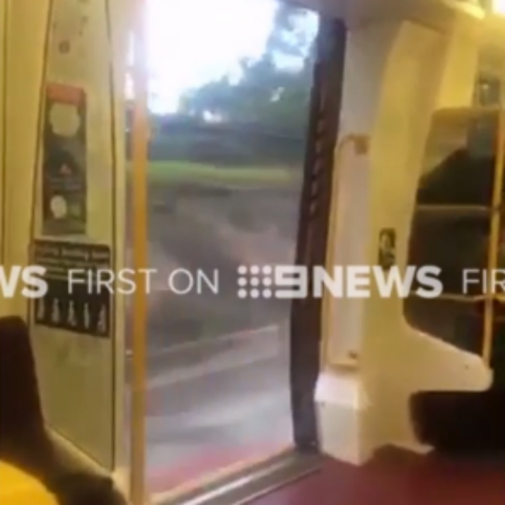 Mind the gap: Moving train's door stuck wide open