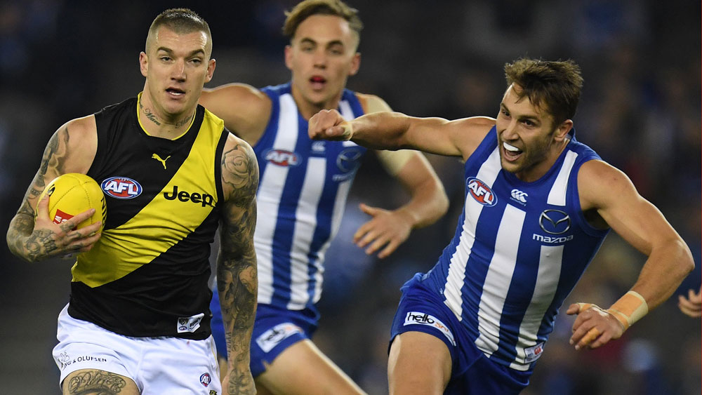 Will Dustin Martin swap black and gold for blue and white? (AAP)