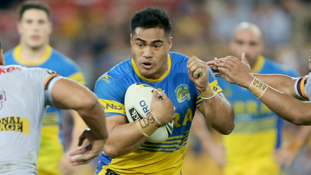 Kirisome Auva'a from Parramatta in action during the round 25 NRL game between the Brisbane Broncos and the Parramatta Eels at Suncorp Stadium in Brisbane on August 24, 2017. (AAP)