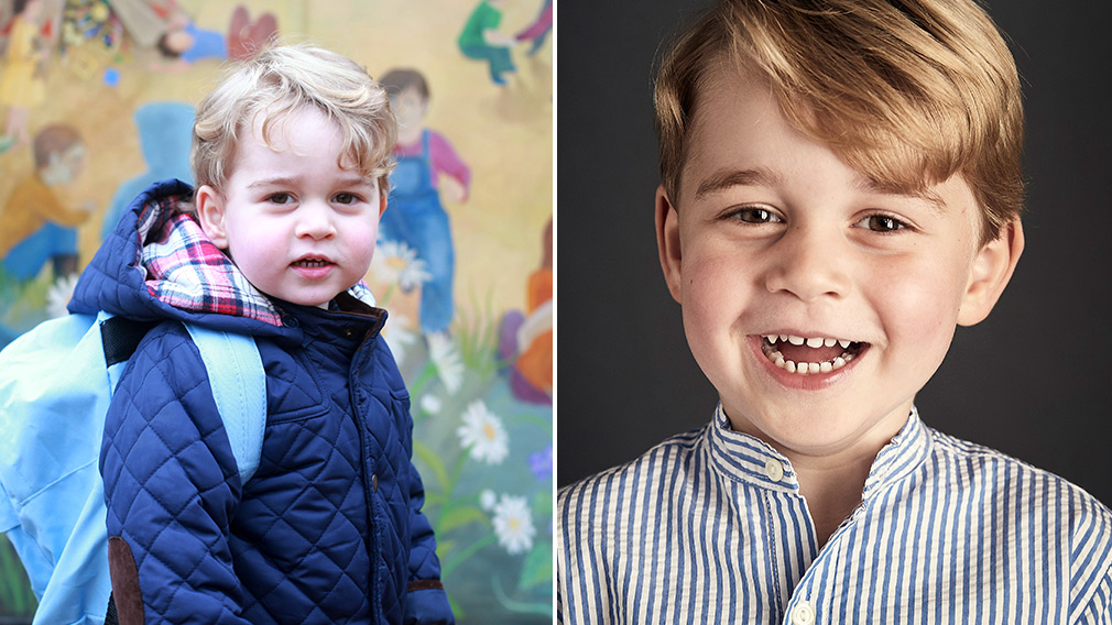 Prince George starts his first day at school accompanied by Prince William