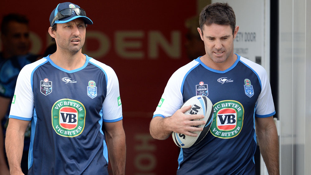 Laurie Daley and Brad Fittler together at the Blues in 2014. (AAP)