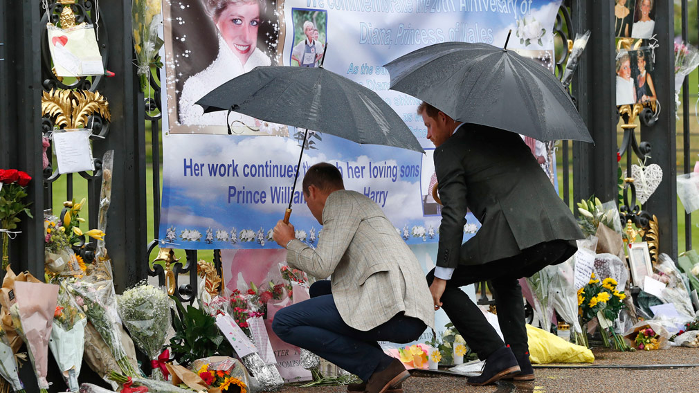 Prince William and Prince Harry read messages from royal fans at the 20th anniversary of their mother's death last week. (AAP)