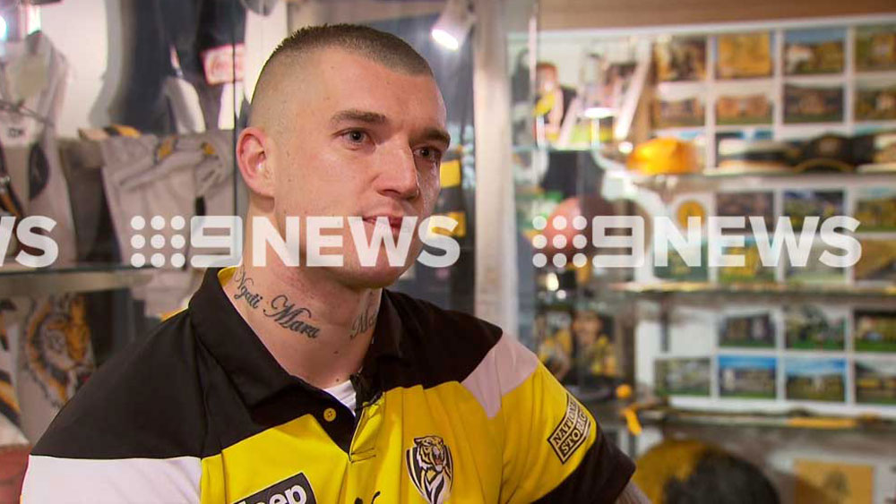 Richmond Tigers star Dustin Martin speaking with Channel Nine on Friday.