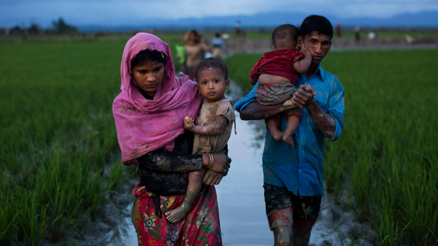 Thousands of Rohingya have fled to Bangladesh after security forces started slaughtering the ethic minority. (AAP)