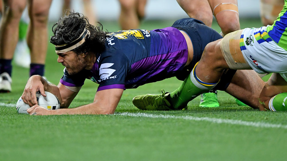 Tohu Harris bagged a double for the Storm against Canberra. (AAP)