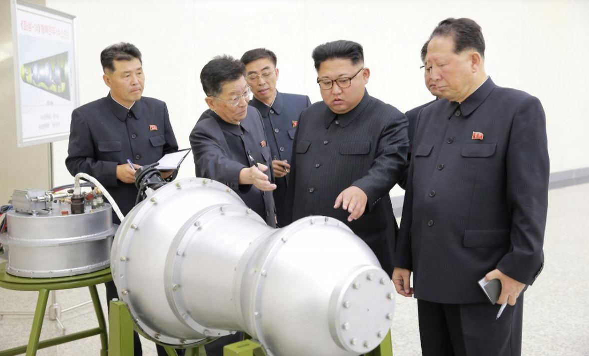 Kim Jong-un inspects the new weapon his country has developed. (KCNA)
