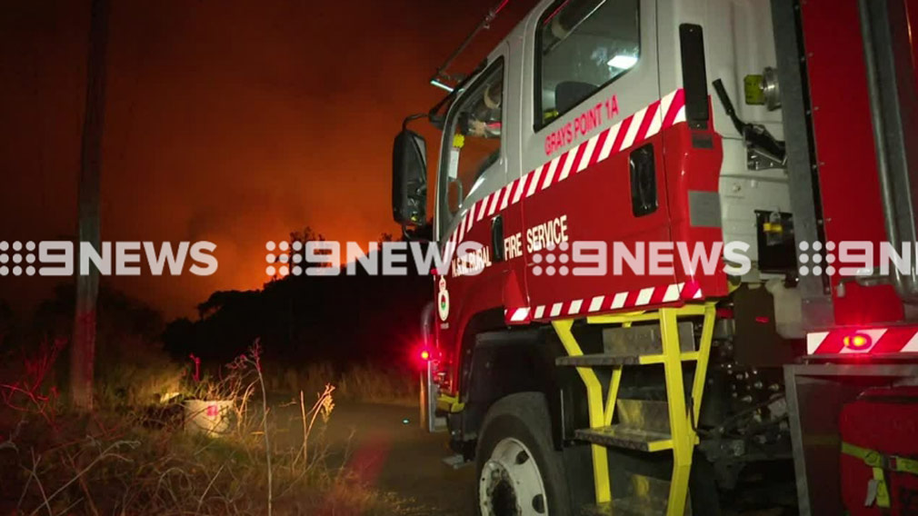 Firefighters are on scene of the bushfire in Kurnell. (9NEWS)
