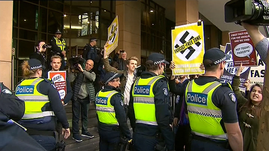 A heavy police presence outside court. (9NEWS)