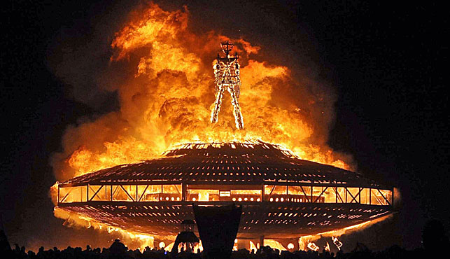 A file photo of the showpiece Burning Man fire model that will still go ahead at the festival in Nevada despite a man's death. (AP).
