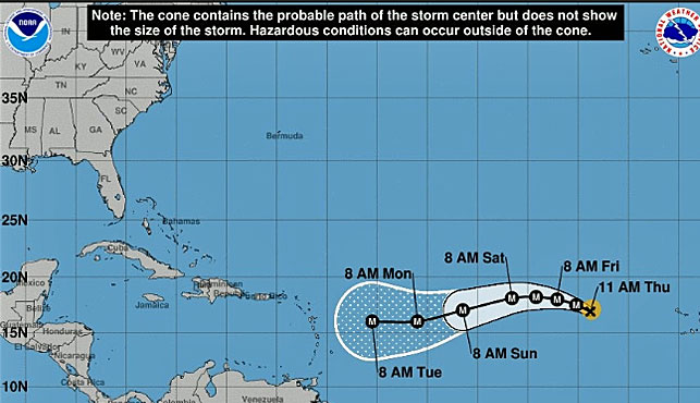 A handout from the US National Hurricane Center shows the predicted path of Hurricane Irma off the east coast. (Photo: AP).