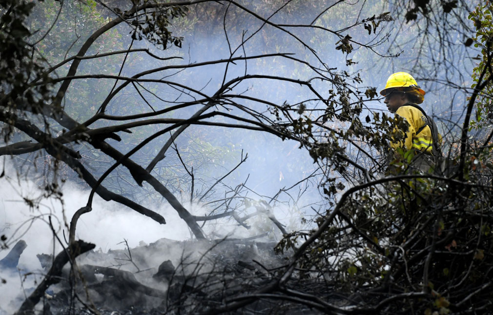 Several hundred firefighters worked to contain a blaze that chewed through brush-covered mountains, prompting evacuation orders for homes in Los Angeles, Burbank and Glendale. (Associated Press)