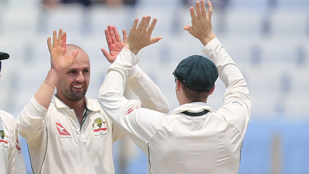 Nathan Lyon starred with the ball for Australia. (AAP)