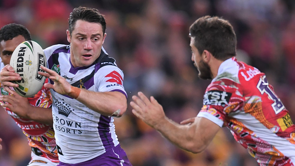 Melbourne Storm star Cooper Cronk takes on the Broncos defence. (AAP)