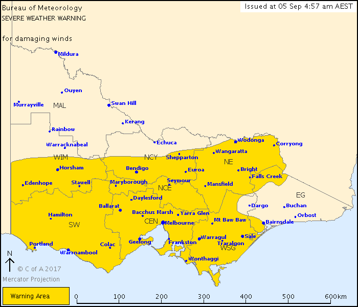 A severe weather warning for damaging winds is in place for the majority of Victoria. (BoM)