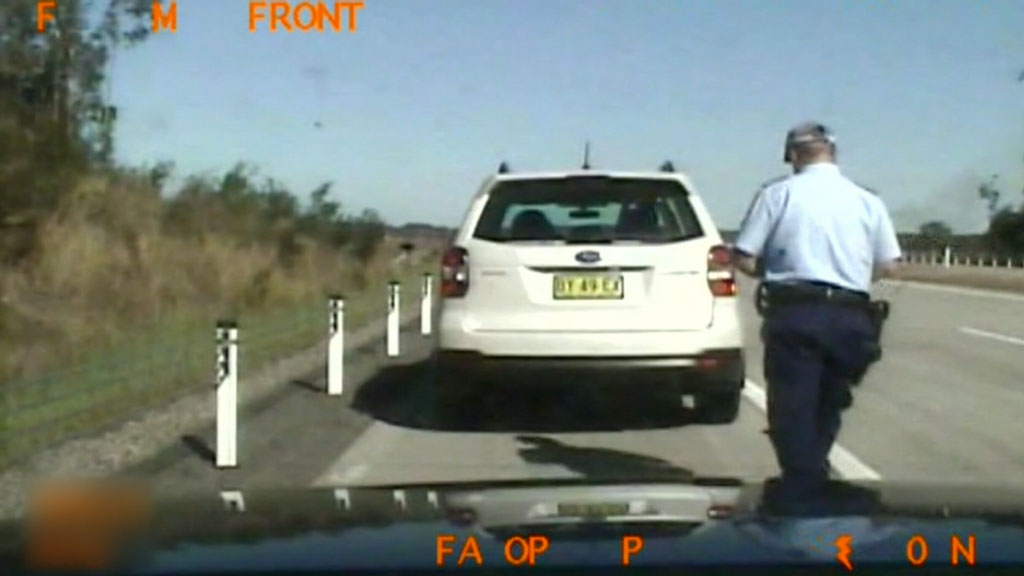 The officer pulled Mr Agius over for driving in the right hand lane. (9NEWS)